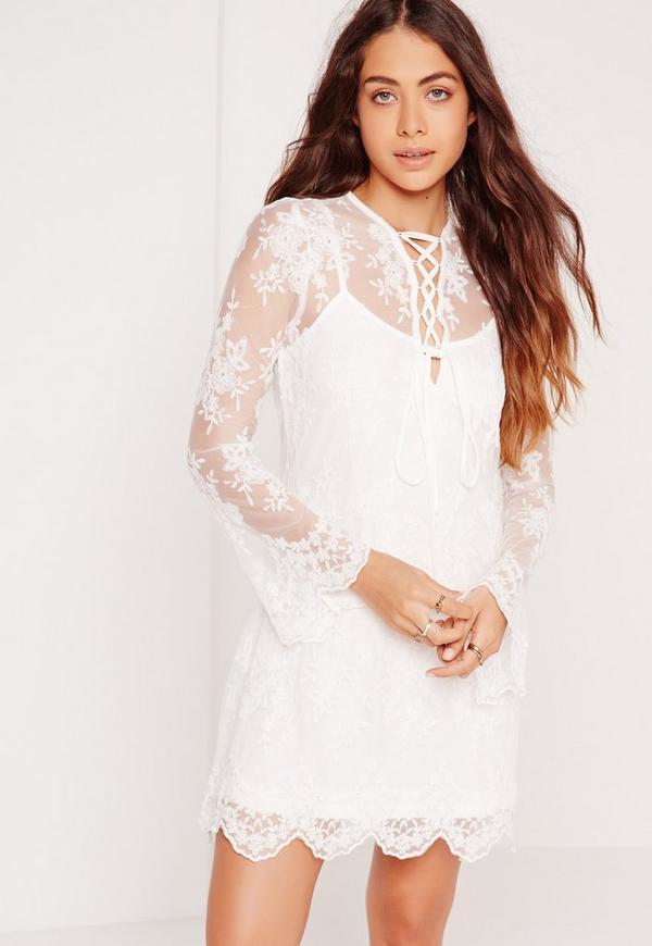 Lace Mesh Lattice Front Dress White