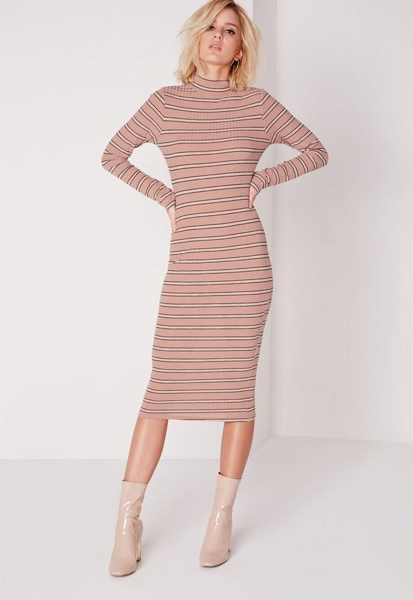 Long Sleeve High Neck Stripe Midi Dress Pink/Black