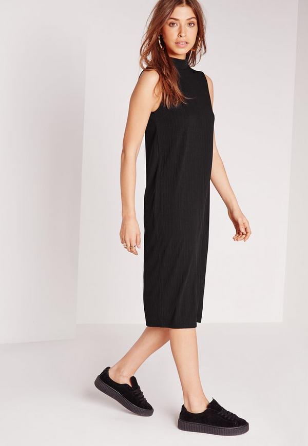 Sleeveless High Neck Rib Midi Shift Dress Black