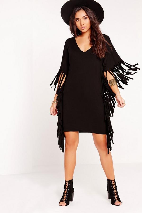 Short Sleeve Oversized Fringe Side T-Shirt Dress Black