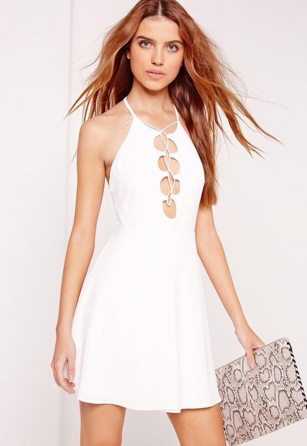 Lace Up Halter Neck Skater Dress White
