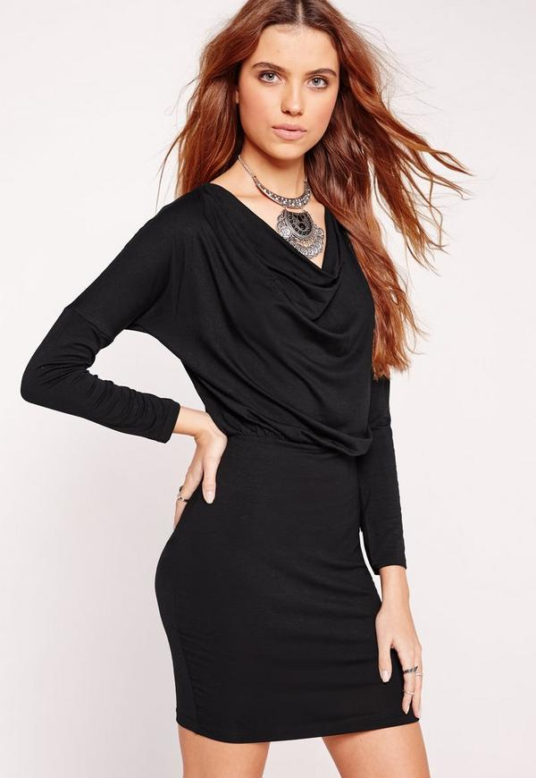 Long Sleeve Cowl Batwing Bodycon Dress Black