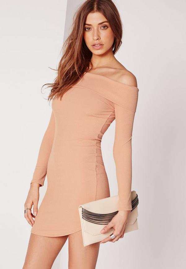 Long Sleeve Curve Hem Ribbed Bardot Bodycon Dress Nude