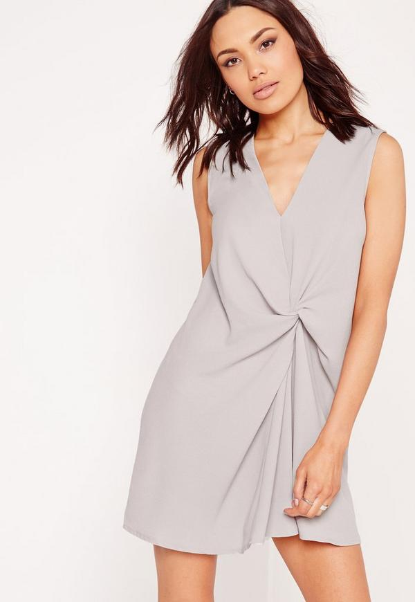 V-Neck Knot Front Shift Dress Grey
