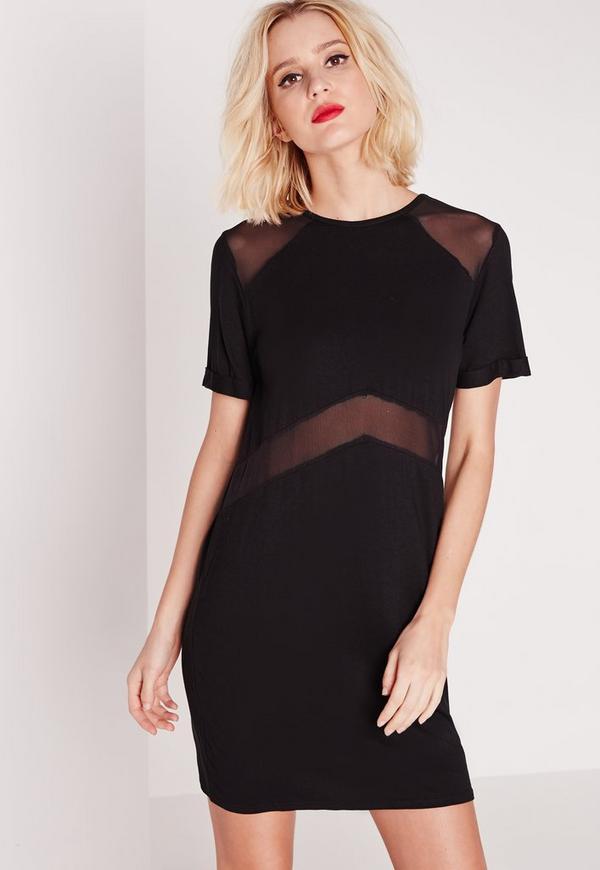 Short Sleeve Mesh Insert T-Shirt Dress Black
