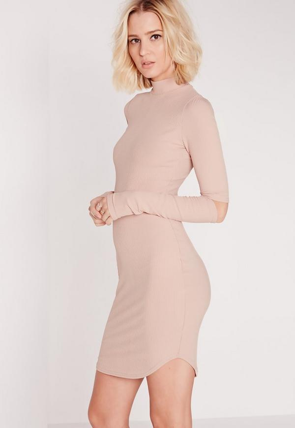 Cold Elbow High Neck Ribbed Bodycon Dress Pink