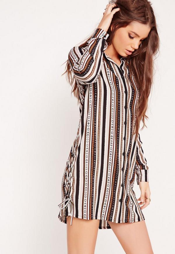 Long Sleeve Tie Side Stripe Shirt Dress Multi