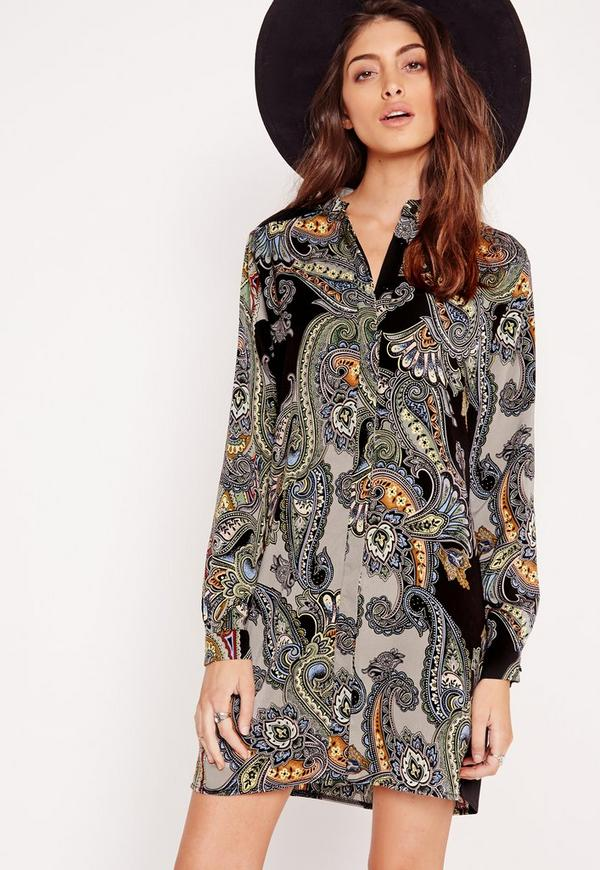 Collarless Shirt Dress Paisley Print Multi
