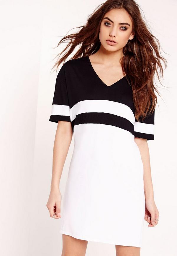 Mono Stripe V Neck T Shirt Dress Black White Missguided