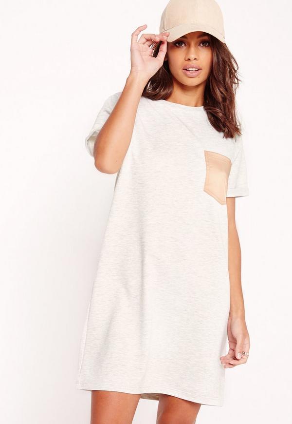 Short Sleeve Silky Pocket T-Shirt Dress Grey/Nude