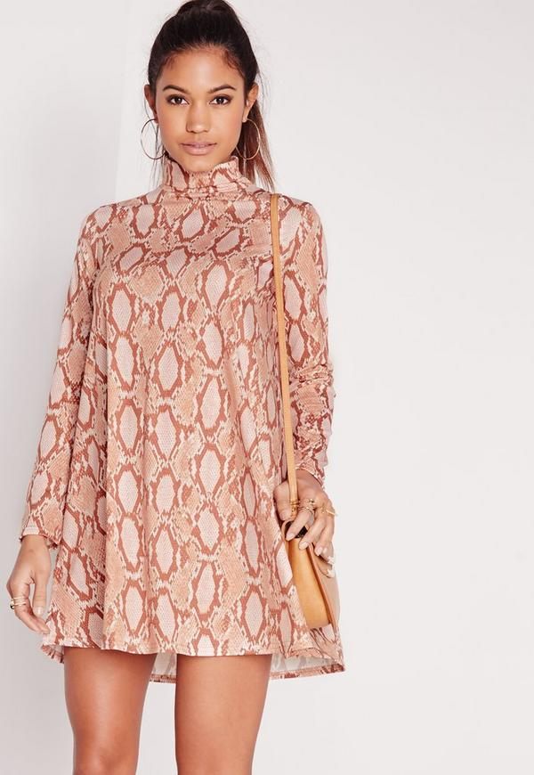 Roll Neck Snake Print Swing Dress Nude
