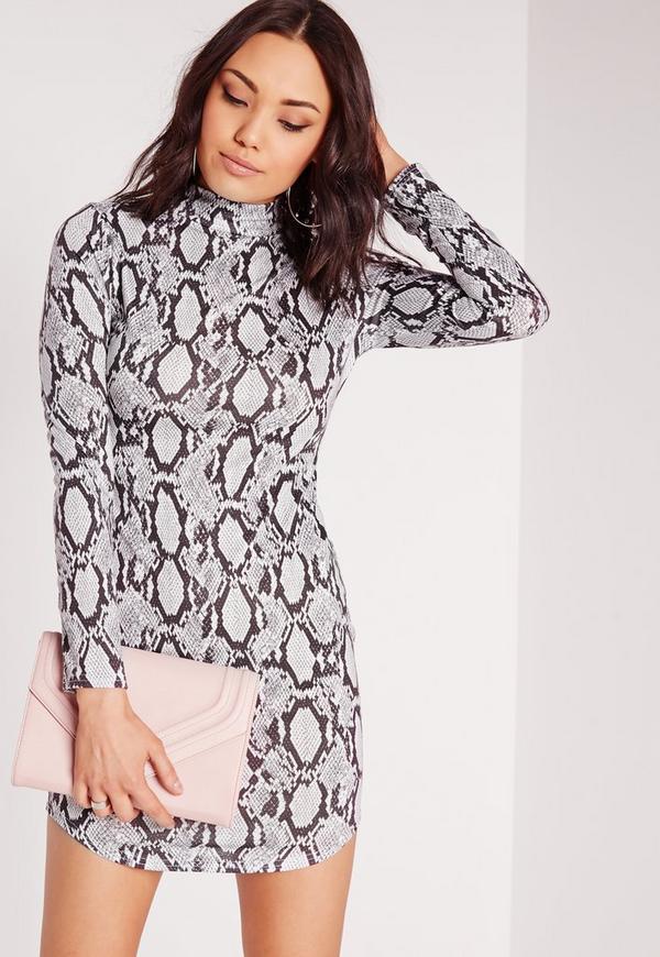 High Neck Curve Hem Snake Print Bodycon Dress Grey