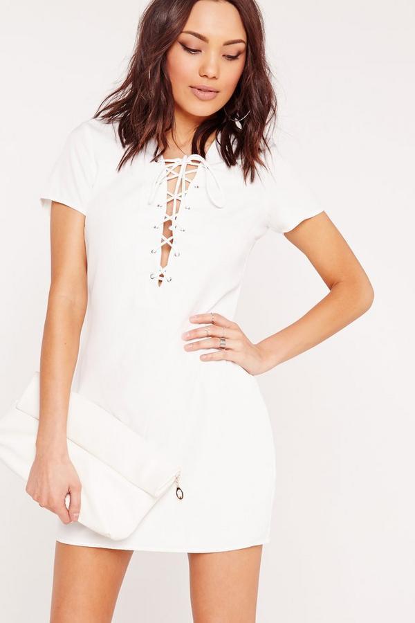Lace Up Front Shift Dress White
