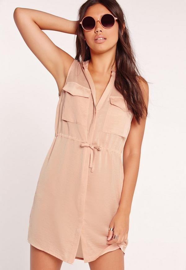 Sleeveless Drawstring Waist Silky Shirt Dress Nude