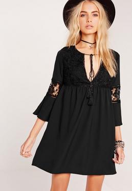 Lace Detail Oversized Smock Dress Black