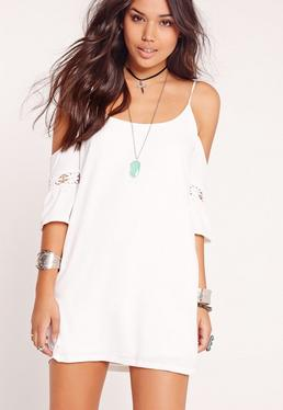 Cold Shoulder Cross Back Swing Dress White