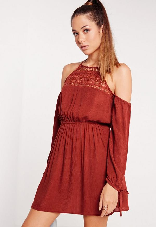 Cold Shoulder Crinkle Crochet Skater Dress