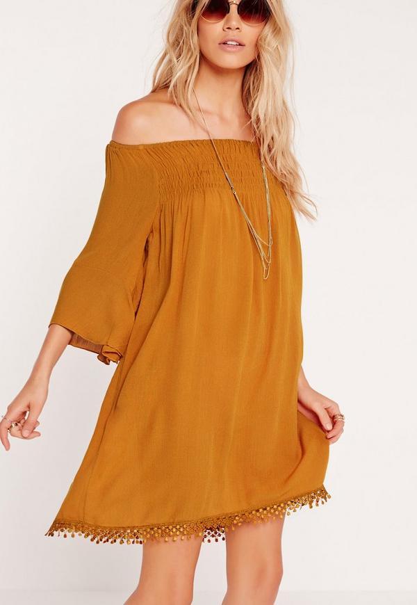 Crochet Hem Swing Dress Yellow