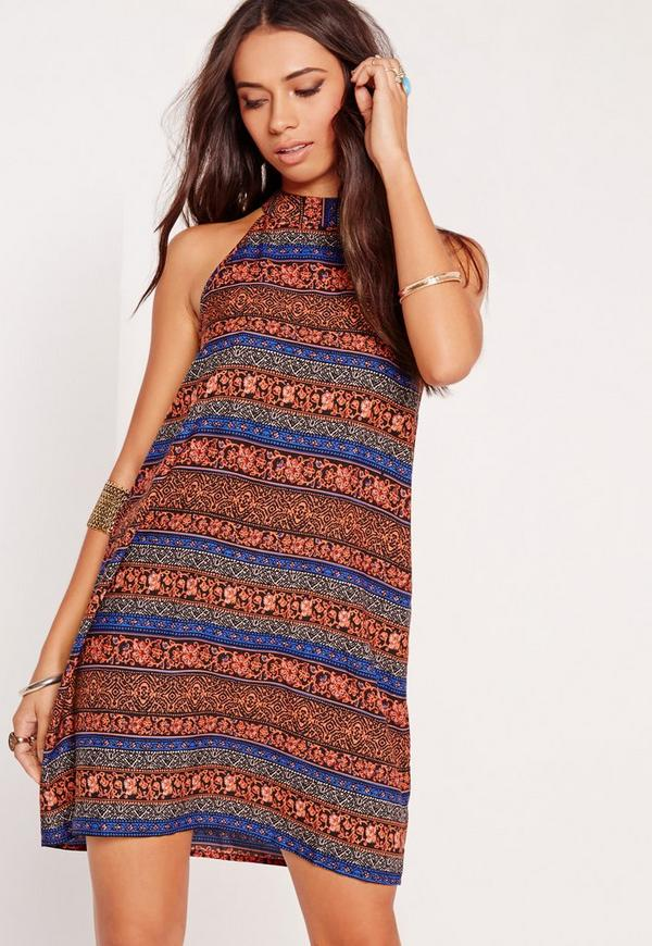 High Neck Printed Swing Dress Red