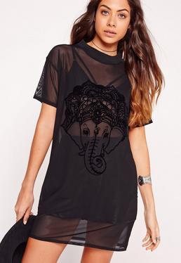 Flock Elephant Mesh T-Shirt Dress Black