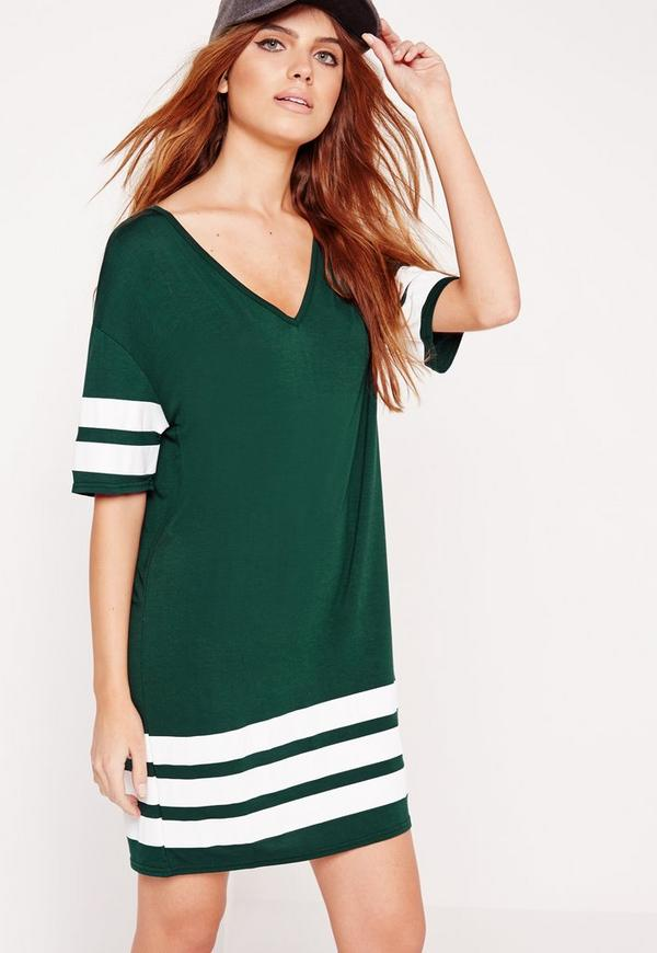 Sports stripe t shirt dress green missguided for Sporty t shirt dress