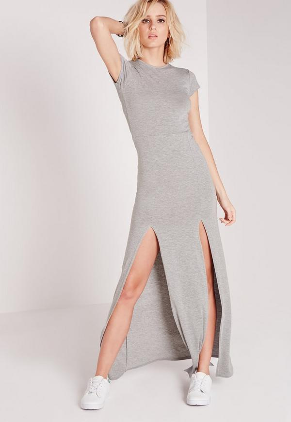 Split Front T-Shirt Maxi Dress Grey Marl