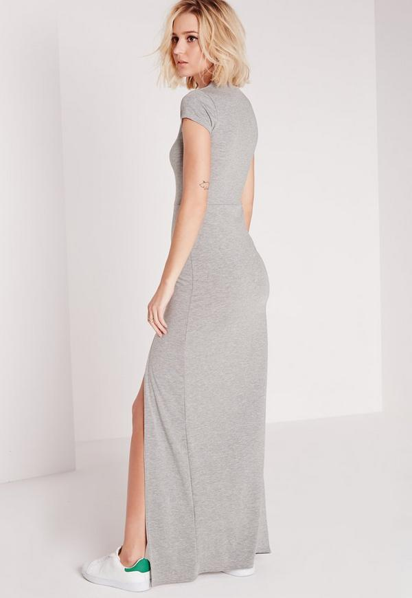 robe t shirt longue grise fendue missguided. Black Bedroom Furniture Sets. Home Design Ideas