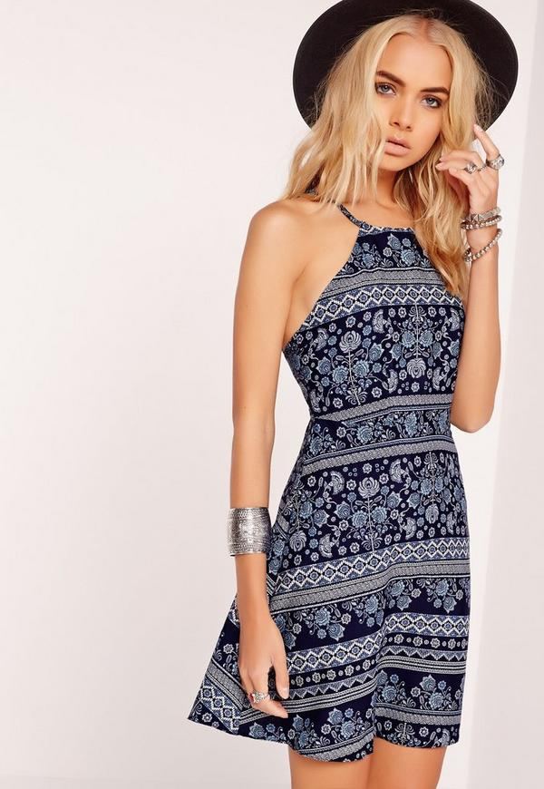 Scarf Print Strappy Back Swing Dress Blue