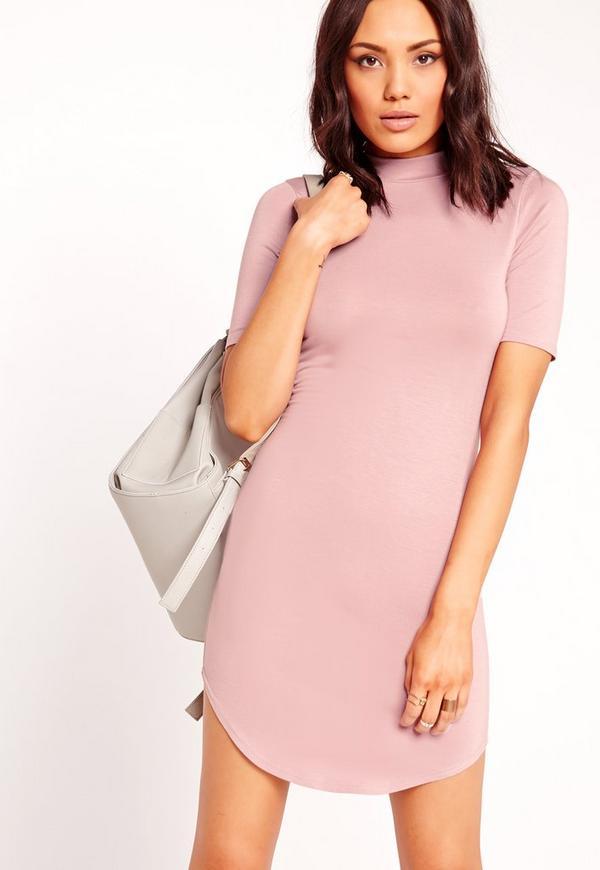 Short Sleeve Curve Hem Bodycon Dress Pink