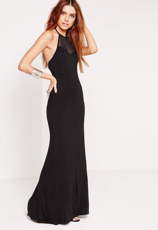 Halterneck Mesh Insert Maxi Dress Black