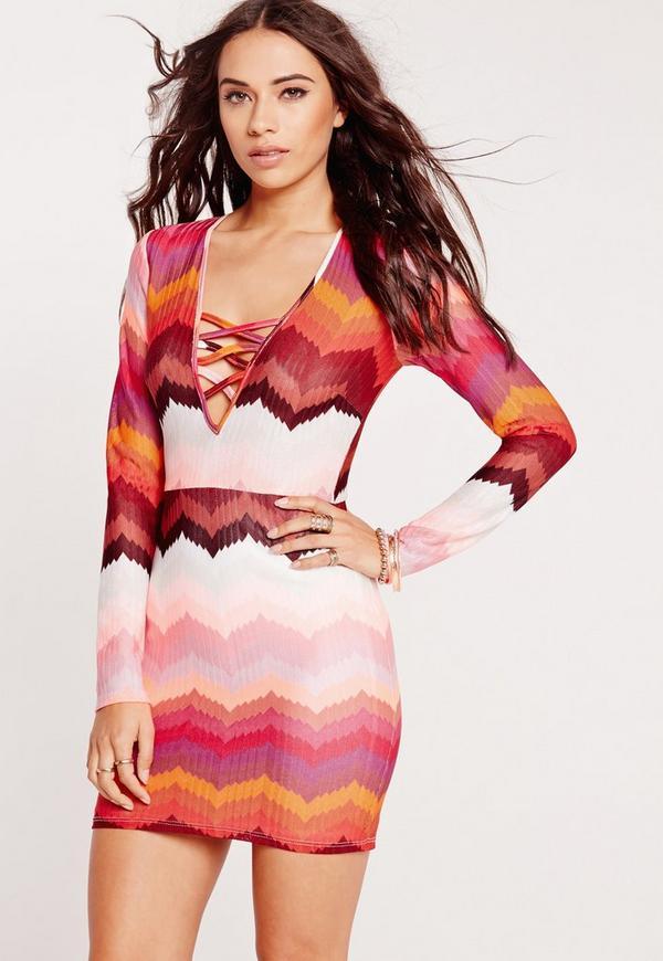 Geometric V-Neck Long Sleeve Bodycon Dress Multi