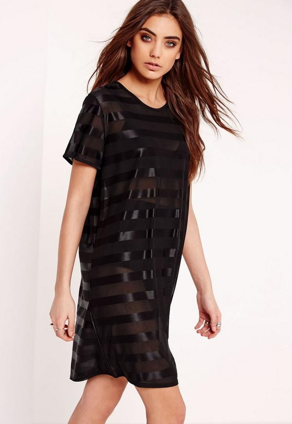 Mesh Stripe T-Shirt Dress Black