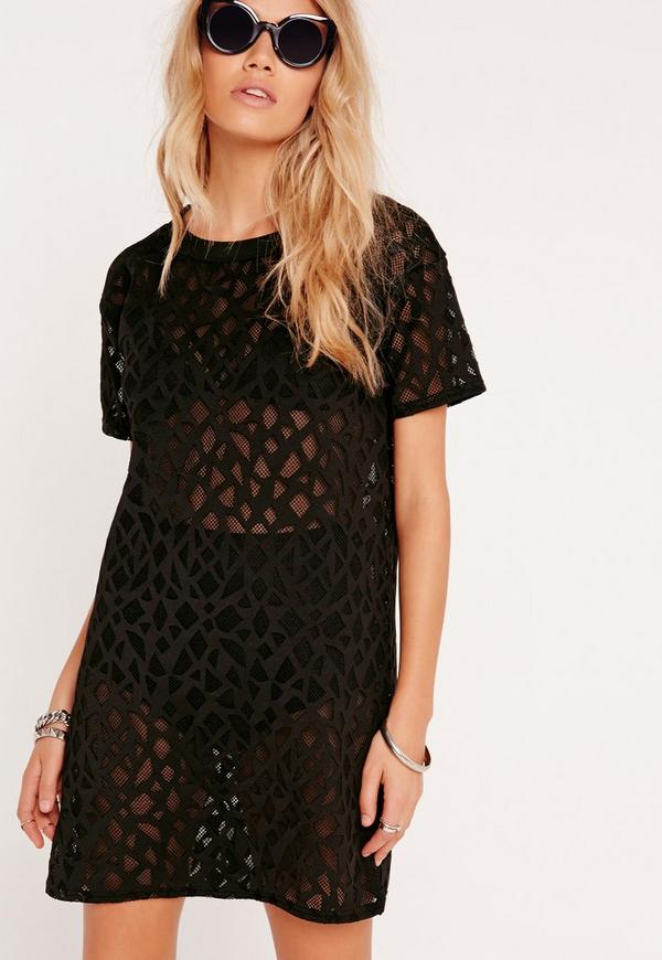 Mesh Boxy T-Shirt Dress Black