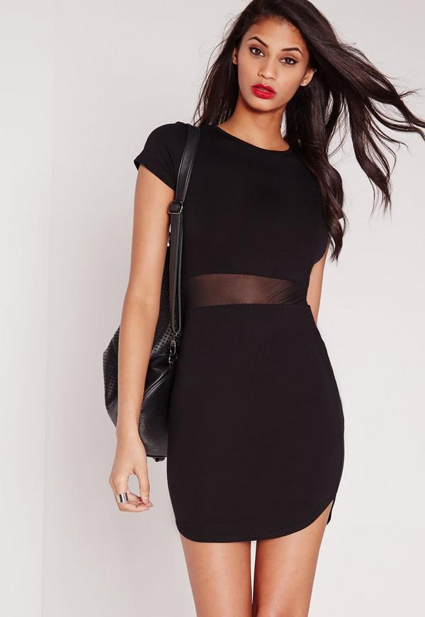 Mesh Waist Short Sleeve Bodycon Dress Black