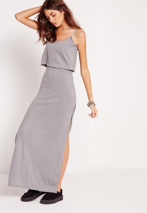 Jersey Overlay Maxi Dress Grey