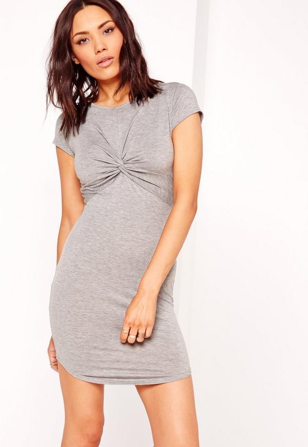 Twist Front Short Sleeve Bodycon Dress Grey