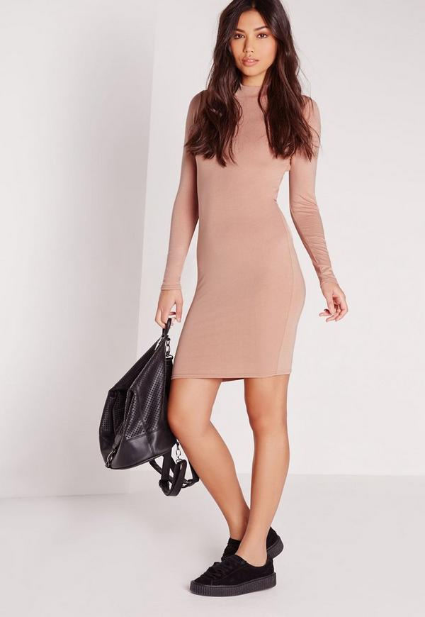 High Neck Strap Back Bodycon Dress Nude