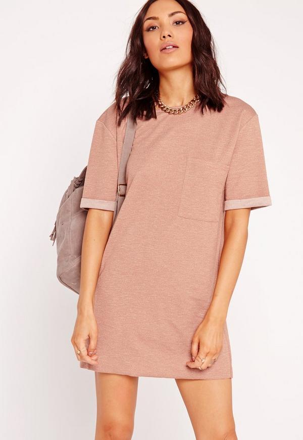 Oversized Loopback Pocket Front Dress Dusky Pink