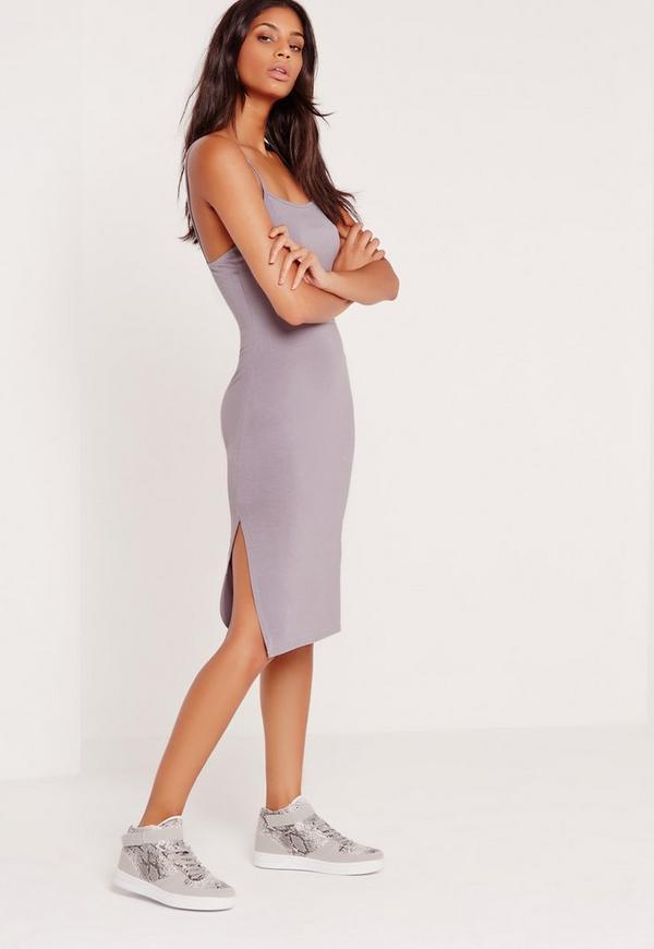 Split Side Strappy Midi Dress Lilac