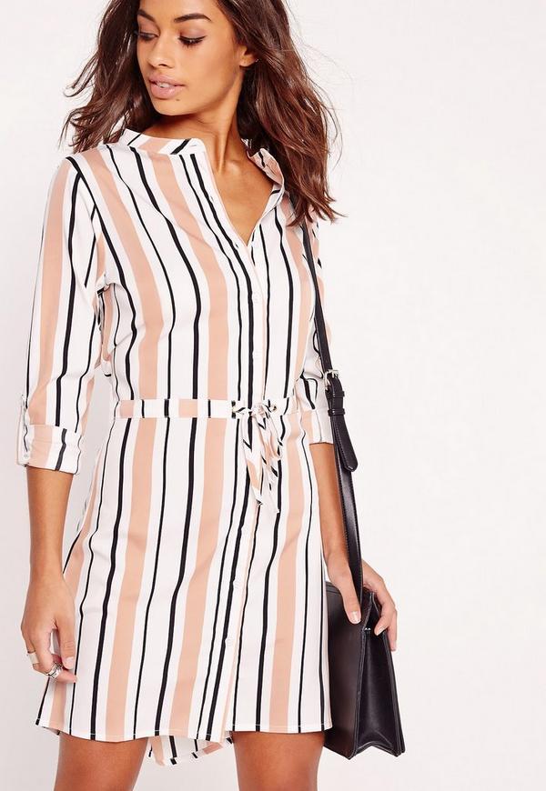 Tie Waist Shirt Dress Cream Stripe