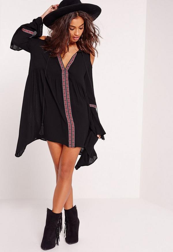 Cold Shoulder Embroidered Tape Swing Dress Black