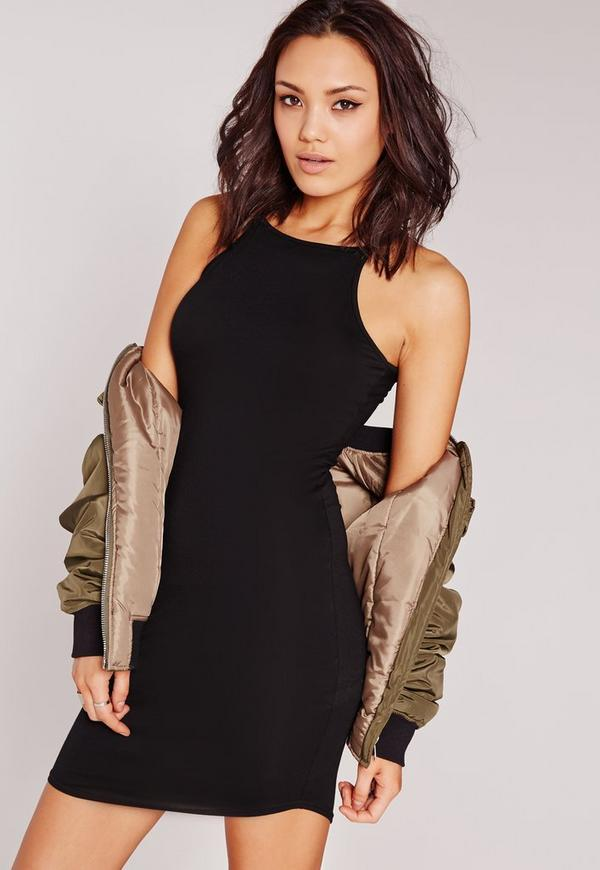 Strappy Racer Curve Hem Bodycon Dress Black