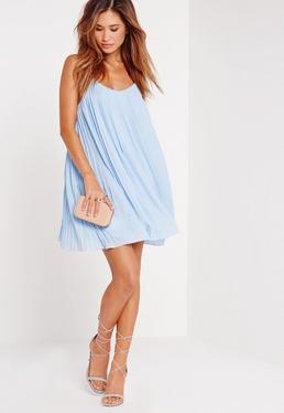 Niebieska rozkloszowana plisowana luźna sukienka