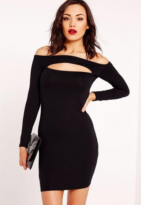 Slit Front Bodycon Dress Black