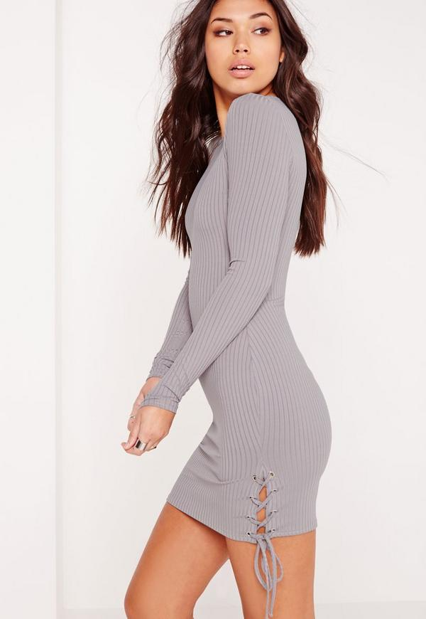 Lace Up Side Ribbed Bodycon Dress Lilac