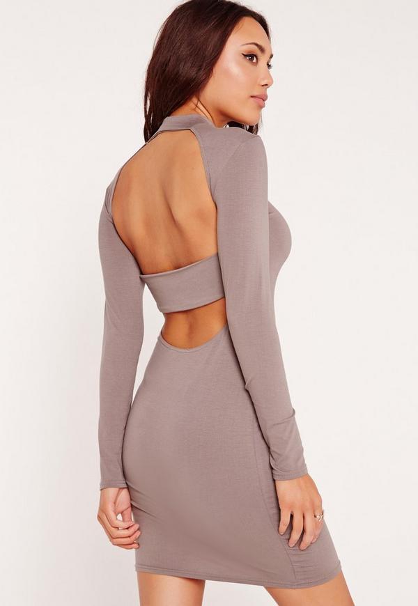 High Neck Strap Back Bodycon Dress Grey