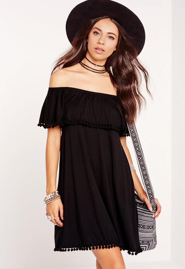 Pompom Trim Jersey Bardot Swing Dress Black