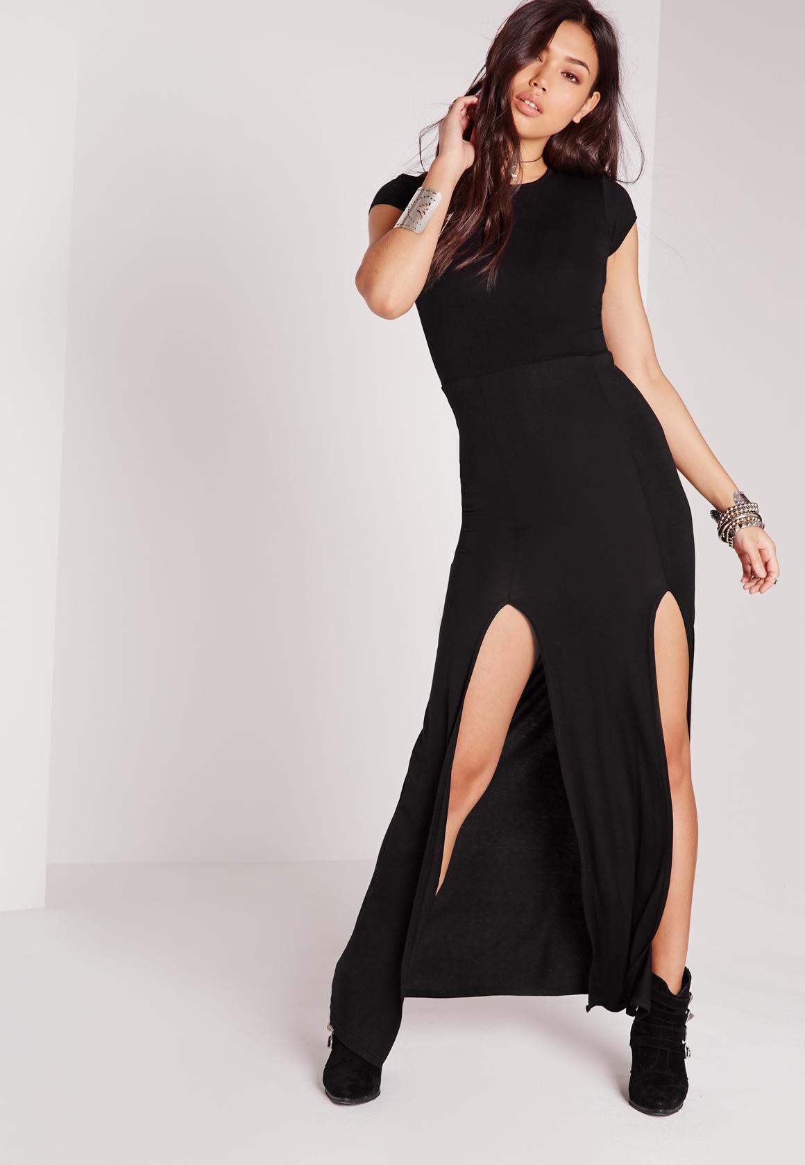 Black black t shirt maxi dress - Split Front T Shirt Maxi Dress Black