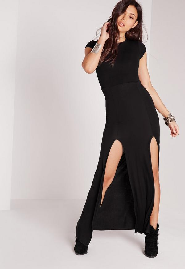 Split Front T-Shirt Maxi Dress Black
