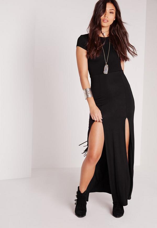 robe t shirt longue noire fendue missguided. Black Bedroom Furniture Sets. Home Design Ideas